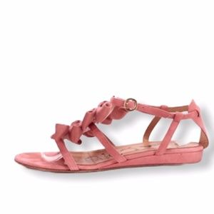 Tibi pink suade bow sandals with box